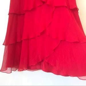 Melinda Eng Dresses - Melinda Eng SZ 8 Silk Tiered Strapless Gown Shawl